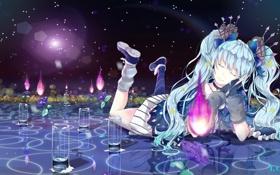 Обои вода, девушка, цветы, магия, аниме, арт, vocaloid