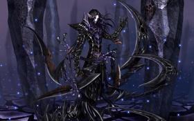 Обои эльф, мечи, тёмный