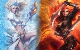 Обои League of Legends, Katarina, девушки, посох, Janna, кинжалы, оружие