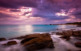 Обои море, небо, облака, камни, утро
