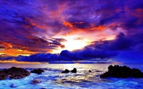 Картинка закат, камни, скалы, небо, облака, море, берег