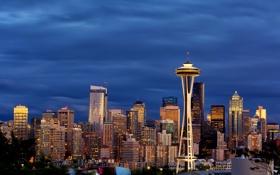 Обои огни, небоскребы, вечер, США, Seattle