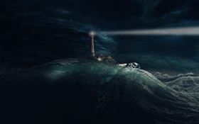 Картинка черепаха, небо, маяк, свет, вода, волны, море
