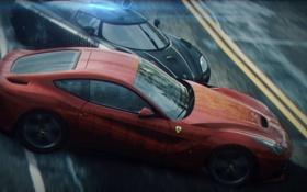Обои погоня, занос, Koenigsegg, Ferrari, ракурс, спорткары, Need for Speed Rivals
