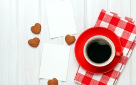 Картинка любовь, кофе, печенье, чашка, сердечки, love, heart
