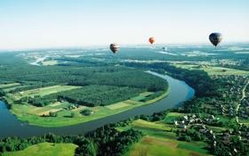 Обои полет, река, воздушные шары, поля, панорама, домики, леса