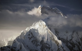 Обои туман, гора, эверест