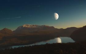Картинка небо, звезды, поверхность, горы, планета, спутник