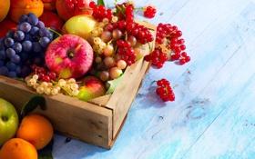 Картинка ягоды, яблоки, виноград, фрукты, ящик, смородина, абрикосы