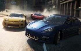 Обои город, гонка, Porsche, lexus lfa, need for speed most wanted 2, Lamborghini Aventador LP700-4