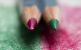 Картинка макро, green, карандаши, red