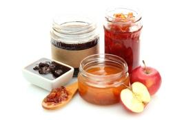Обои яблоко, ложка, банки, сладкое, варенье, клубничное, абрикосовое