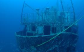Обои затонул, под водой, вода, корабль