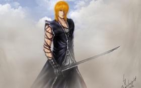 Обои взгляд, оружие, пыль, меч, цепь, парень, Bleach