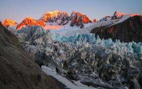 Картинка зима, снег, горы, рассвет, вершины, ледник