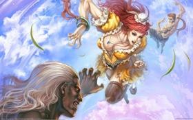 Картинка грудь, чулки, бой, сиськи, арт, рыжая, fighting
