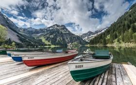 Картинка горы, озеро, пристань, лодки, Австрия, Austria, Тироль