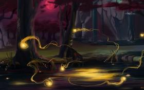 Обои лес, вода, озеро, огоньки, арт