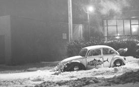 Картинка зима, снег, volkswagen, фольксваген, beetle, snow, битл