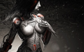 Картинка девушка, красный, металл, ветер, тело, робот, арт