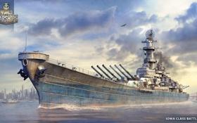 Обои оружие, игра, корабль, арт, США, вооружение, линкор