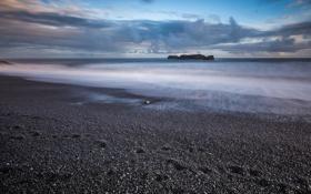 Картинка море, камни, скалы, рассвет, побережье, Исландия