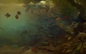 Обои рыбы, арт, подводный мир