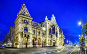 Обои Budapest, Magyarország, Будапешт, фонари, Hungary, Great Market Hall, Венгрия