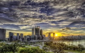 Обои рассвет, дорога, Сидней, Австралия, hdr, небоскребы
