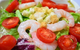 Обои салат, креветки, помидоры