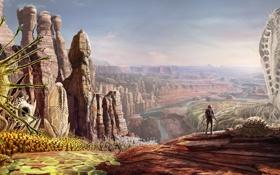 Обои корни, река, человек, растения, арт, каньон, существа
