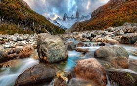 Обои горы, река, камни