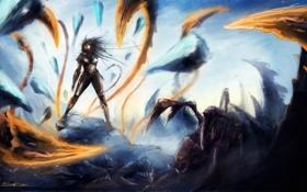 Картинка девушка, снег, арт, монстры, zerg, starcraft 2, sarah kerrigan