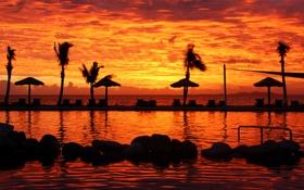 Картинка закат, пальмы, океан, басеин, Fiji, Denarau Island