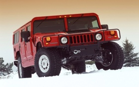 Обои Зима, Снег, Красный, Хаммер, Hammer