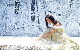 Картинка лес, снег, азиатка