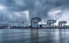 Картинка небо, город, река, молнии, Германия, Кёльн, Рейн