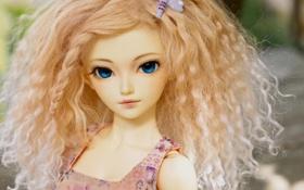 Обои взгляд, игрушка, кукла, блондинка, кудри