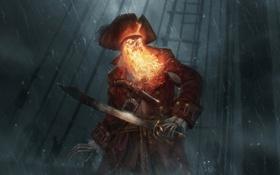 Картинка шторм, дождь, огонь, корабль, шляпа, арт, пират