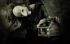 Обои темный, зубы, домик, маска