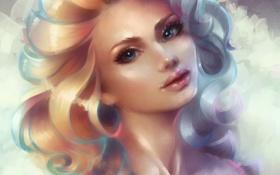 Картинка девушка, лицо, волосы, арт, art, Marfyta