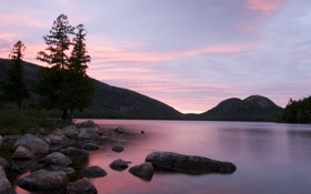Обои закат, пейзаж, nature, небо, озеро, сиреневый, природа