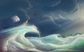 Картинка арт, корабль, шторм, волна, облака