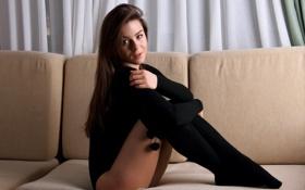 Картинка девушка, модель, сидит, гетры, Lily C, Raisa, Natalia E