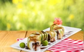 Обои sushi, суши, роллы, japanese, seafood