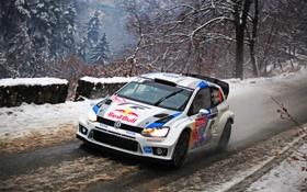 Обои дорога, Зима, Авто, Снег, Volkswagen, Фары, WRC