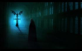 Обои фантастика, девушка, спина, крест, помещение. тень, демон, арт
