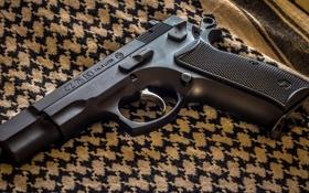 Обои пистолет, ткань, CZ-75BD, оружие