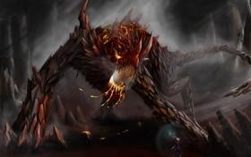 Картинка огонь, камень, чешуя, Монстр, маг, пещера, схватка
