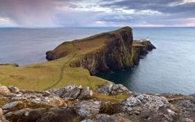 Картинка маяк, Шотландия, Neist Point Lighthouse, западная точка острова Скай